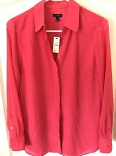 NWT$89 TALBOTS Women's Blouse Top Pink Long Sleeves Spring Summer Shirt XS New