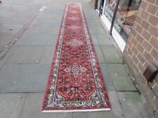 Vintage Traditional Hand Made Oriental Red Pink Wool Very Long Runner 566x81cm