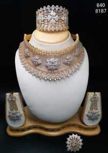 Indian Bollywood CZ AD Wedding Gold Fashion Jewelry Choker  Necklace Set Combpll