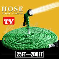 Deluxe 25 50 75 100 200 ft Expandable Flexible Garden Water Hose Spray Nozzle oi