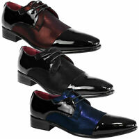 Men's Contrast Patent Leather Shoes Wedding Oxford Lace Up Formal Brogues Size
