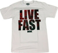 DGK Skateboard Tee Shirt LIVE FAST WHITE Size SMALL