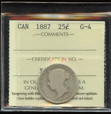 1887 Canada Twenty-Five Cents Silver Coin - ICCS G-4