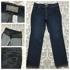 Chico's Womens Jeans size 12 Dark Wash So Slimming Cotton Stretch Tummy Control