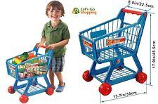 Blue Kids Children Boys/Girls Shopping Trolley Cart w/ Fruits & Vegetables Toy