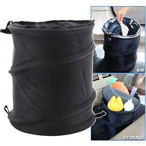 1x Portable Car Trash Can Garbage Bin Bag Vehicle Litter Black Storage Container