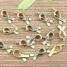 36pcs dark gold color HOPE cancer awareness ribbon design charms  H1168