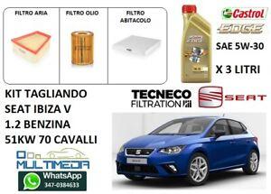 TAGLIANDO FILTRI + OLIO CASTROL 5W-30 SEAT IBIZA V 1.2 BENZINA 51KW 70 CAVALLI