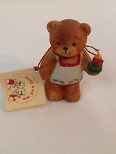 Lucy and Me Bear Christmas w/ Candle Holly Apron Eneso w/ Tag Rigglets