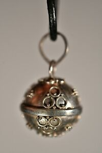 *HARMONY BALL* Balinese Pendant +Cord Circles Chime Jewellery Silver Plate