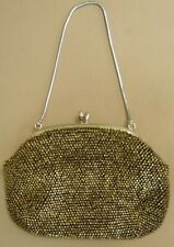Vintage BEADAED CLUTCH PURSE HANDBAG Bronze Black w/ Silver Strap NEVER USED!!!