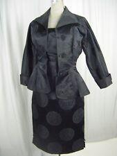 DYNASTY Vtg 50s Black Oriental Silk 4 pcs Top,Skirt,Jacket-Bust 38/Waist 25/2XS