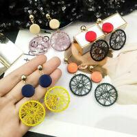 Straw Ear Stud Rattan Wooden Dangle Jewelry Earrings Geometric Gift Women Woven