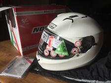 NEW NOLAN N87 N-COM FULL FACE Motorcycle Motorbike Helmet METAL WHITE
