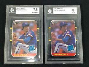 1987 Donruss Greg Maddux RC Baseball Cards BGS 8 BGS 7.5 Lot of 2