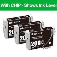 3PKs Reman 200 XL Black Ink Cartridge For Epson Expression Home XP-410 Printer