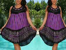 Free Size Dress Cover-Up Purple White Embroidery Floral Tie Dye NWT L,XL,1X