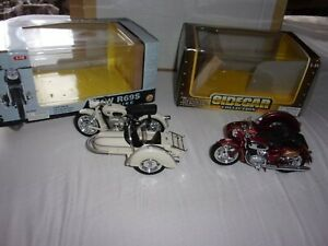 2 X 1.18 SCALE  MOTORBIKES WITH SIDECARS,BOXED,DIECAST/PLASTIC SEE DESCRIPTIO