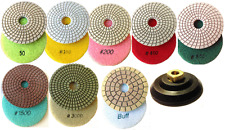 "4"" Inch Diamond Polishing Pad WET 8 GRITs & 4"" Backer Pad Adapter, Mix & Match"