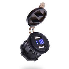 Blue Backlit 12V 24V 21.A Dual USB Charger Voltmeter Round Car RV Volt Gauge