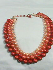 Shades of Coral 3 strand Faux Pearl Necklace Japan