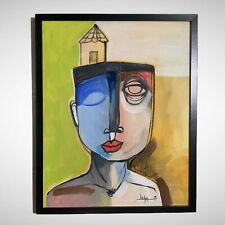 """PAINTING ACRYLIC OIL PASTELS ON CANVAS(FRAME INCLUDED)CUBAN ART 16""""X20"""" By Lisa."""