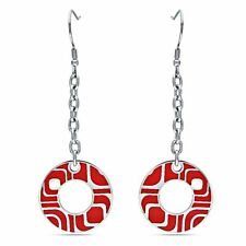 Amour Stainless Steel Round Red Epoxy Dangle Earrings