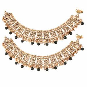 Indian Traditional Bollywood Gold Plated Bridal Kundan Anklets for Women