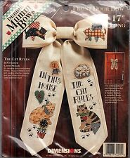 """Cross Stitch Kit The Cat Rules Front Door Bow Dimensions 72294  17"""" NEW"""