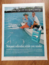 1962 Newport Cigarette Ad Couple Swimming Boating Fun