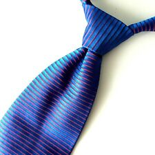 XMI Platinum Mens Tie Blue Red Horizontal Stripes Woven Italian Silk Necktie 56""