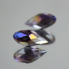 DIY10pcs 6x12MM purple Oval Faceted Czech Crystal With Hole Teardrop Glass Beads