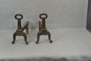andirons fireplace small 11x12 cast iron classic early 18th c original 1790