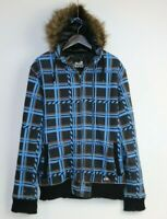 Quick Silver Men's Check Lined Hoodie Jacket Size M