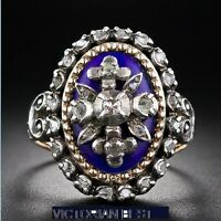Victorian Antique Blue Enamel Oval 2.50Ctw Rose Cut Diamond silver ring