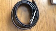 OLD NAVY Black Leather Belt White Brass Buckle - Size 38 - Made in USA