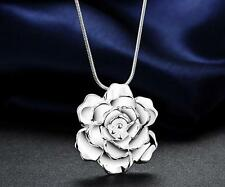 925 sterling Silver Plated Flower Fashion Cute Pretty women Necklace Jewelry