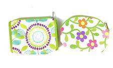 CLINIQUE Lot 2 Cosmetic Cases Floral Multi-colors Zipper Closes NEW