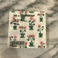 IKEA Sallskap  Floral Pink Green Tea Party Birthday Party 30 pack Napkins New