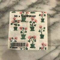 IKEA Sallskap  Floral Pink Green Tea Party Birthday Party 30 pack Napkins New
