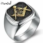 MENDEL Mens Stainless Steel Gold Freemason Masonic Lodge Ring Silver Size 7-15 for sale