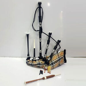Scottish Great Highland Bagpipe Rosewood Black Finish Silver mounts Carrying Bag