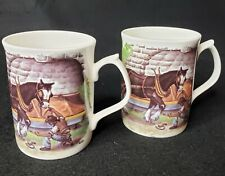 2 Bone China Coffee/Tea Cups Mugs, Horses, Equestrian Themed from England