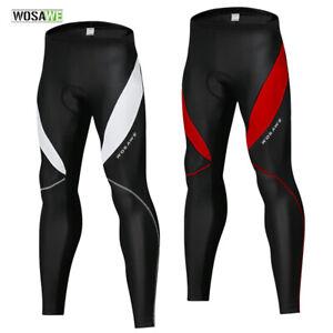 Mens Cycling Pants Knee Fleece Gel Padded Trousers MTB Bike Leggings Long Tights