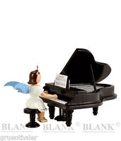 Engel am Flügel farbig Fa.Blank Erzgebirge Kurzrockengel Klavier Kurzrock EKF021