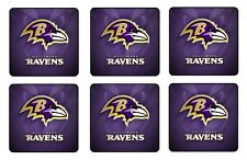 "BALTIMORE RAVENS COASTERS 1/4"" BAR & BEER SET OF 6"