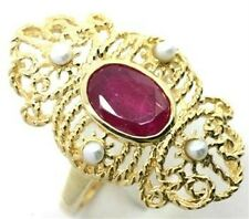 Ruby & Pearl 9ct 375 Solid Gold Antique Style Ring - SZ N/7.0 - 30 Day Returns