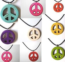 PEACE SIGN SYMBOL PENDANT black cord necklace blue pink Hippie 70s men women new