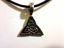 "CELTIC TRIQUETRA KNOTWORK PENDANT/NECKLACE W/ 26"" CORD norse mythology wiccan"