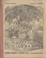 109TH AGRICULTURAL ALMANAC FOR THE YEAR 1934,JOHN BAER'S SONS,INC.LANCASTER,PA.